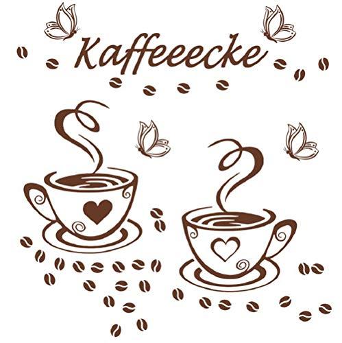 Muurstickers 4U tattoo-s muur stickers afbeeldingen sticker decoratie koffie kopje bonen cappuccino keuken kantoor eetkamer koffie keuken kantoor café bar bakkerij vlinders meubels raam plakfolie B. Koffiemok 2
