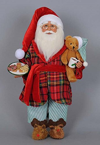 Karen Didion Milk and Cookies Santa Figurine, 17 inches