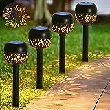 4Piezas luces de camino - Energía Solar Luz de la Antorcha al Aire Libre IP65 Impermeable 24 Lumen Luces de Camino de Paisaje - Luz Solar de Jardín Blanco Cálido para Navidad, festival, Césped, Patio