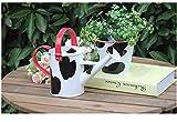 CHELIZI Maceta Regadera Jarrones de Flores de Metal Patrón de Vaca Blanco y Negro Juego de 2 Juego de Jardinería Cubo de Flores Pava Decoración Hogar Jardín