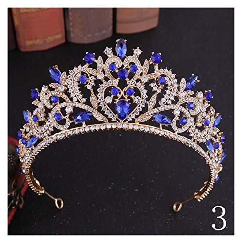 XMCF Diademe für Damen Luxus Handgemachte Strass Braut Blau Kristall Große Krone Tiaras Diadem Für Braut Stirnbänder Hochzeit Haarschmuck Prinzessin Diadem Braut Tiara (Größe : 3)