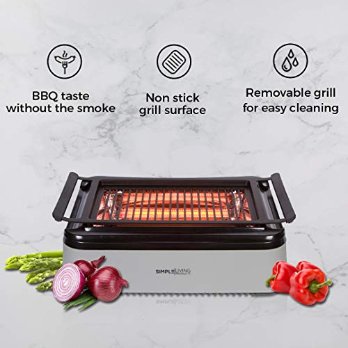 Simple Living Advanced Indoor Smokeless BBQ Grill | Powered With Infrared Technology with Virtually...