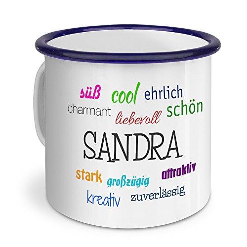 printplanet Emaille-Tasse mit Namen Sandra - Metallbecher mit Design Positive Eigenschaften - Nostalgie-Becher, Camping-Tasse, Blechtasse, Blau