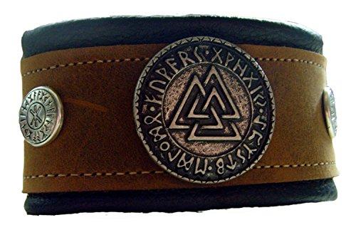 Lederarmband 2 Farbig Hellbraun-Schwarz Wotansknoten mit Odin Schutz