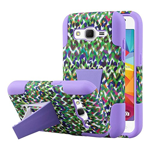 Samsung Galaxy Prevail LTE / Galaxy Core Prime Case, MPERO IMPACT X Series Dual Layered Tough Durable Shock Absorbing Silicone Polycarbonate Hybrid Kickstand Case for Galaxy Prevail LTE / Galaxy Core Prime [Perfect Fit & Precise Port Cut Outs] - Purple Rainbow Leopard