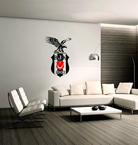 Saphir Design Wandtattoo Besiktas mit Kartal und ROT AyYildiz WT13.1 (Schwarz/Rot Matt, 60x95cm)