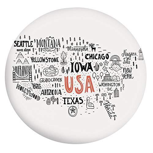 Nappe élastique en polyester avec bords élastiques, motif typographie de la ville avec des figures locales, convient aux tables rondes de 61 cm, pour salle à manger et cuisines, gris, corail W