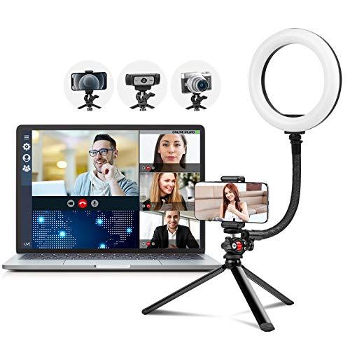 2021 Ringlicht mit Stativ für Handy und Webcam, 8