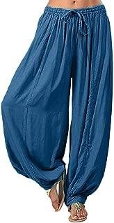 POPNINGKS Women Plus Size Solid Color Casual Loose Harem Pants,Yoga Pants Women Trousers