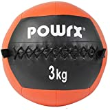 POWRX Wall Ball Balón Medicinal 3 kg - Ideal para Ejercicios de »Functional Fitness«,...