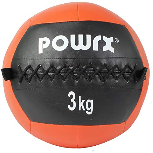 POWRX Wall Ball Balón Medicinal 3 kg - Ideal para Ejercicios de »Functional Fitness«, fortalecimiento y tonificación Muscular - Agarre Antideslizante + PDF Workout (Naranja)
