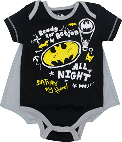 DC Comics Batman Baby Jungen Body und Cape Set, Schwarz 3-6 Monate