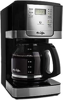 Mr. Coffee JWX27 Cafetera programable de 12 tazas, Plateado y Negro