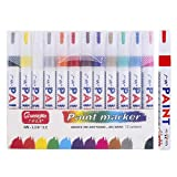 Doopa Lot de 12marqueurs de couleurs différentes et qui résistent à l'eau pour pneus, métal, tissu, verre Avec housse de transport