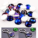 12 Constellation Glass Cabochons 24pcs 20mm Round Zodiac Sign Luminous Glow in The Dark Horoscope Charm for Keychain Key Ring Bracelet Jewelry Making Friends Gift (12 Constellation Cabochons, 20mm)