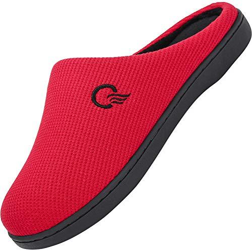 Mishansha Zapatillas de Estar por casa para Mujer Invierno Ultraligero cómodo y Antideslizante,Mujer Rojo 38/39 EU