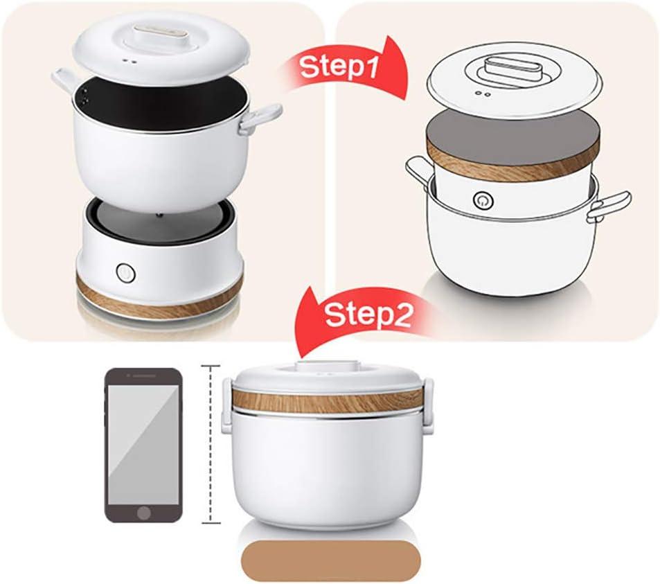 Mijoteuse 1 personne compacte électrique multi-Cooker Hot Pot Frying Pan pour la maison Voyage,Rose White