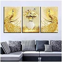 キャンバスポスターHDプリント写真リビングルームウォールアート3ピースゴールデンピーコックカップルと花の絵画家の装飾-40cmx60cmx3個(フレームなし)