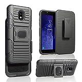 Designed for Samsung Galaxy J3 2018, J3V J3 V 3rd Gen,Express Prime 3, J3 Star, J3 Achieve, Amp Prime 3 Phone Case, Heavy Duty Shock Absorption Rugged Case Magnetic Belt Swivel Clip Holster(Black)