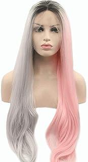 レースフロントウィッグロングピンクグレーミックス合成かつら中央別れ自然な波状のかつら女性用耐熱24インチ (色 : Gray Pink)