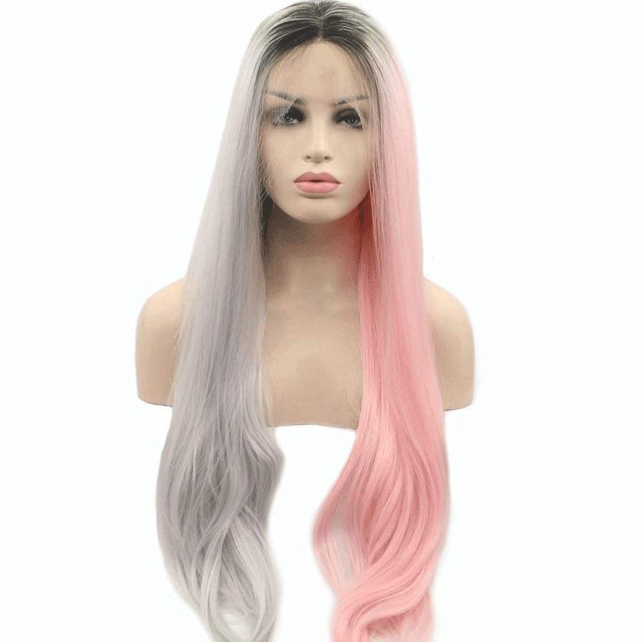 とティーム一元化する名誉あるレースフロントウィッグロングピンクグレーミックス合成かつら中央別れ自然な波状のかつら女性用耐熱24インチ (色 : Gray Pink)