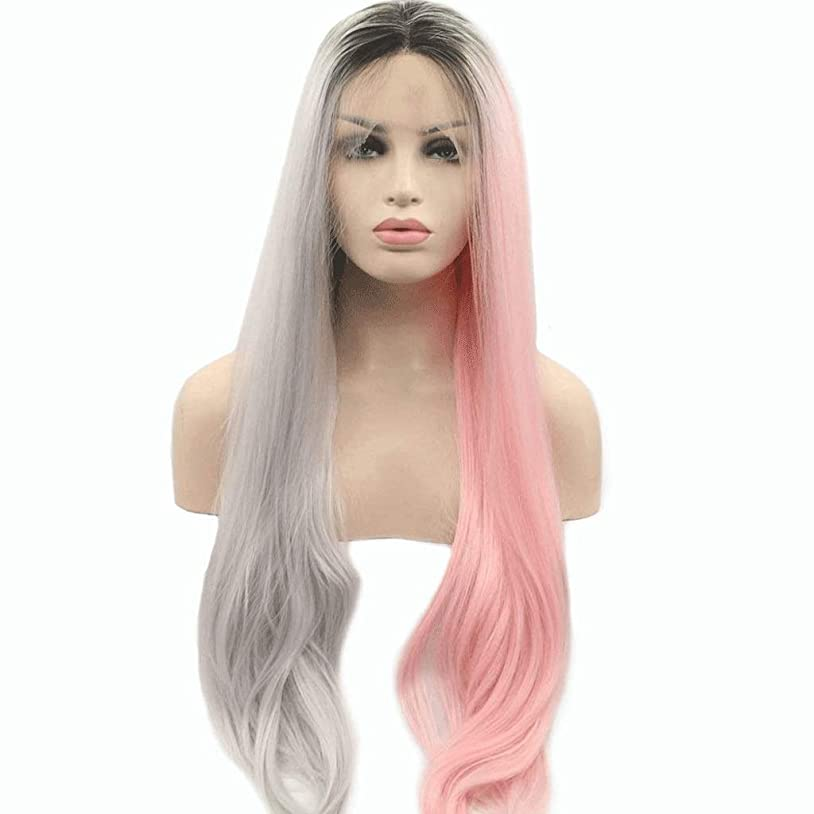 スペード施設グレードレースフロントウィッグロングピンクグレーミックス合成かつら中央別れ自然な波状のかつら女性用耐熱24インチ (色 : Gray Pink)