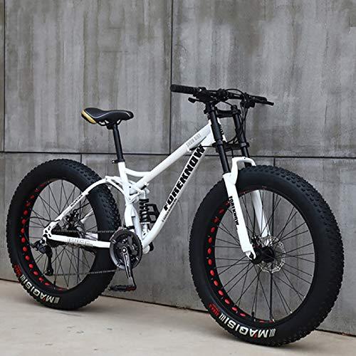 21 Velocidades Bicicleta De Carretera para Adultos,Playa Bicicleta De Moto De Nieve Adulto Neumático Ultra Ancho 4.0 Bicicleta De Montaña Hombre Y Mujer-Blanco 26inch