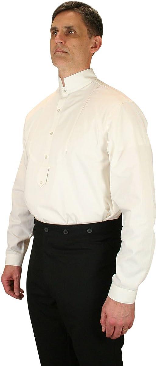 Historical Emporium Men's Victorian Collar Stud/Cufflink Convertible Dress Shirt