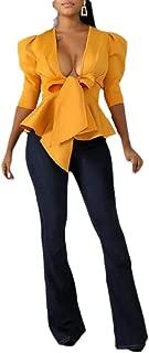 Macondoo Womens Party Coat V Neck Ruffle Short Sleeve Hem Jacket