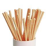 webake Pajitas de Papel Biodegradables 100 Pcs Pajita de Rayas Pajitas Desechables para el Cumpleaños, la Boda, la Ducha de Bebé, la Celebración y la Fiesta - Raya Naranja