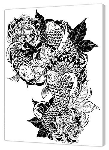 pintcolor 9107 châssis avec toile imprimée à colorier, Wood, blanc/noir, 40 x 50 x 3,5 cm