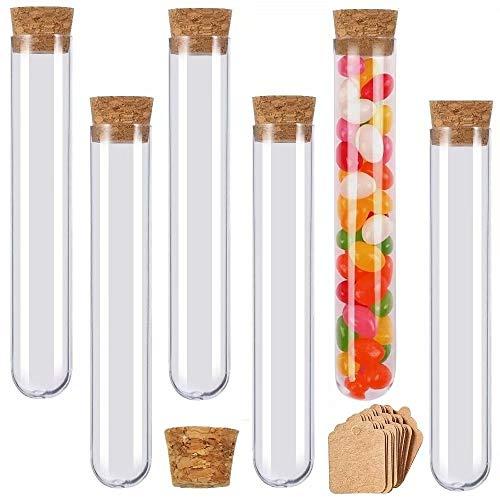 beihuazi® Reagenzgläser 16Stk 30ml Kunststoff Reagenzglas Mit Korken 150 x 20mm Reagenzgläschen für Blumen Gastgeschenke Hochzeit Süßigkeiten Badesalz Gewürze