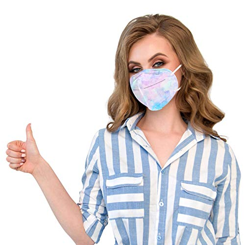 VEMOW 5 Capas Tela para Adultos Proteccion, Patrón de Niebla Bufanda Transpirables con Elástico para Los Oídos Bolsa para Trabajo Ciclismo Gimnasio Protección Actividades al Aire Libre(A5-50pc)