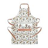 Küchenschürze für Frauen Damen lustiges Hundemotiv Kochschürze Baumwolle mit Taschen zum Kochen, Hund Geschenk für Hundeliebhaber - 2
