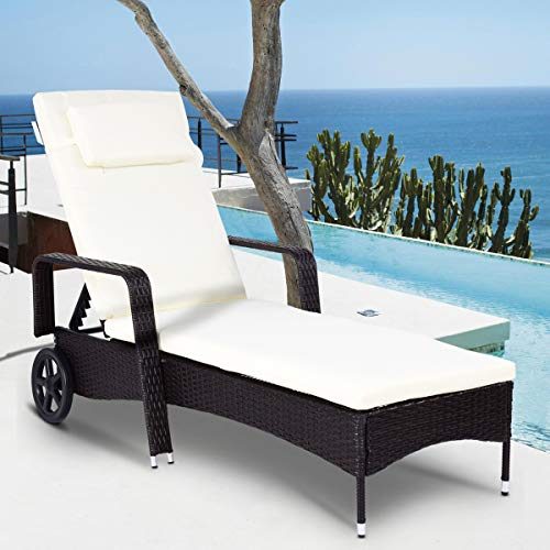Tangkula Patio Reclining Chaise Lounge Outdoor Beach Pool Yard Porch Wicker Rattan Adjustable Backrest Lounger Chair