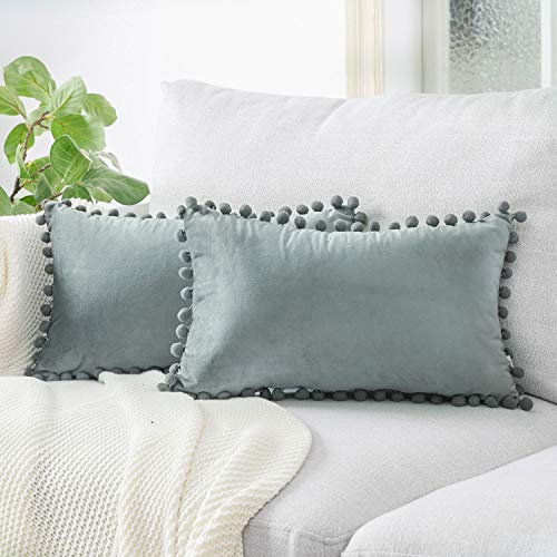 Top Finel Decorative Lumbar Throw Pillow Covers for Couch Bed Soft Particles Velvet Solid Cushion Covers with Pom-poms 12 x 20 Inch 30 x 50 cm, Pack of 2, Grey