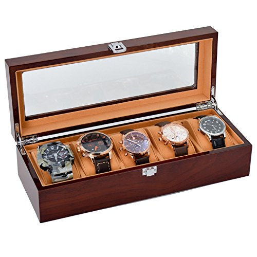 The perseids Uhrenbox Holz, Watch Case 5 Slots Massivholz Speicherorganisator Display Box Exquisite und Langlebig (MEHRWEG)
