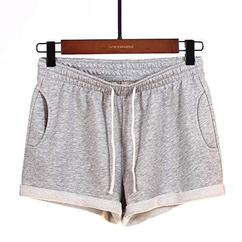 Pantalones Cortos para Mujer Moda de Verano Color sólido Deportes Casuales Pijamas para el hogar Pantalones Cortos para Correr Pantalones Anchos Sueltos para Correr L