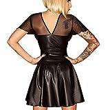 SSScok Mini-Robe en Cuir PU Backless Sexy pour Clubwear et vêtements de Nuit