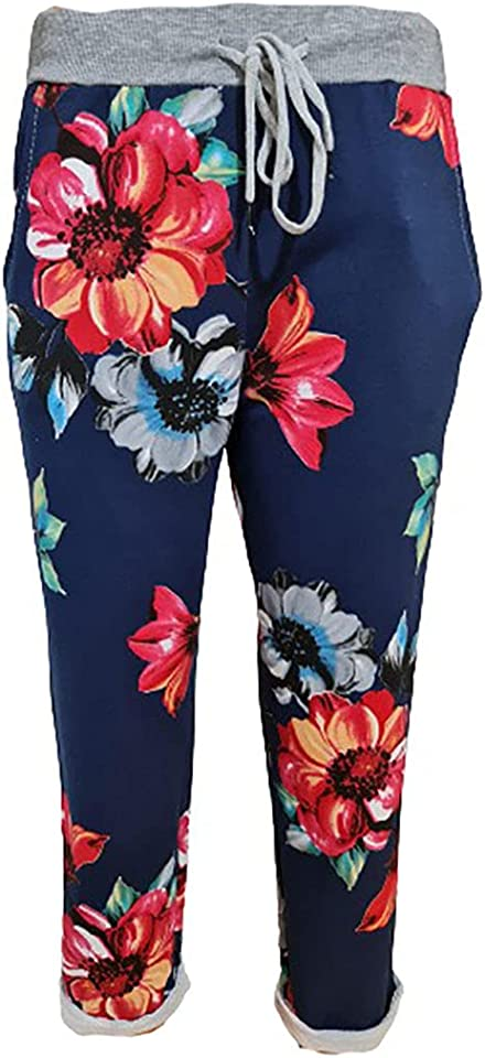 Women's Ladies Denim Jogger Floral, Star Printed Sweatpants Ribbed Waistband Trousers Ladies Causal Summer Jogger Drawstring Italian Gym Running Pants-Size 8-22