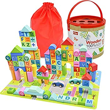 100PCS ABC Wooden Building Blocks Toys,Toddler Alphabet Stacking Blocks ,Educational Toy with Digital,Letter,Fruit,Shapes,Colors,Counting,Gift for Kids/Baby/Boys Ages 3-5 Year Old