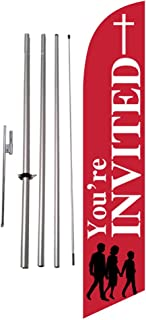 You're Invited Church Feather Banner Swooper Flag Kit w/Spike