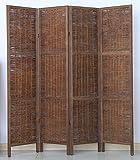 PEGANE Biombo de Madera y Mimbre de 4 Paneles, Color marrón - Dim : A 170 x A 160 cm