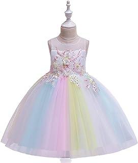 BCSHF Vestido de Princesa de Las niñas Niñas Vestido de la Flor de Malla Princesa de la Falda de la Falda anfitrión Vestid...