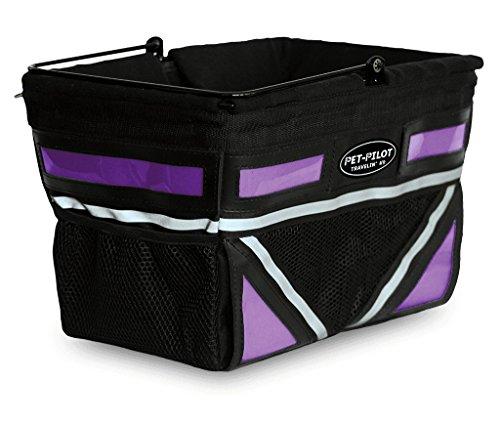 Travelin K9 Pet-Pilot Original Dog Bike Basket Carrier | 8 Color Options for Your Bicycle (Passion Purple)