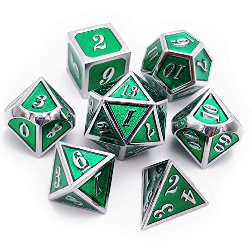 Haxtec D&D Würfel-Set aus Metall, 7 Dungeons and Dragons RPG Gaming, glänzende Emaille, Würfel (Silber Smaragdgrün)