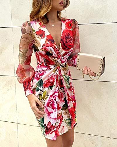 Mujer Vestido Sexy Elegante de Cuello en V Profundo Vestidos Delgados de Verano de Manga Larga Transparente con Estampado de Leopardo/Floral para Casual Boda Fiesta Cóctel Club (Rojo, L)