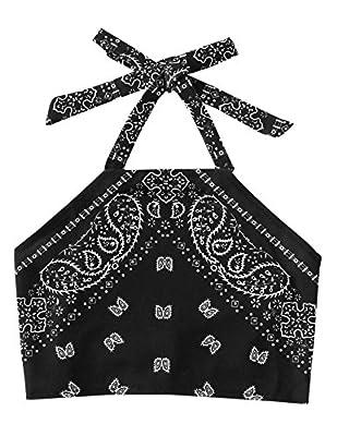 SweatyRocks Women's Vintage Print Halter Neck Crop Top (Small, Black)