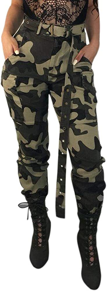 FUNEY Women's Cargo Hiking Pants High Waist Slim Fit Jogger Camo Pants for Women Without Belt Military Combat Pants