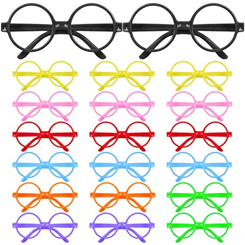 Biggroup - Juego de 20 vasos de plstico para nios, diseo redondo, sin lentes para nios o nias, suministros de fiesta (negro), color aleatorio